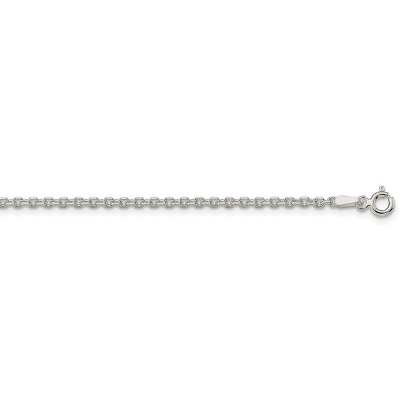 """16"""" Sterling Silver 2.1mm Diamond-cut Forzantina Cable Chain Necklace"""
