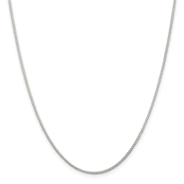"""14"""" Rhodium-plated Sterling Silver 1.25mm Round Spiga Chain Necklace"""