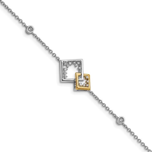 14k Two-tone Gold Polished Double Square Diamond Bracelet