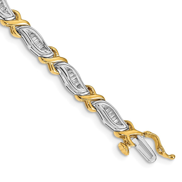 14k Two-tone Gold 1ctw. Baguette Diamond Bracelet