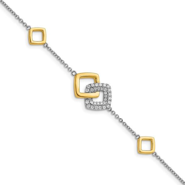 14k Two-tone Gold Polished Diamond Double Square Bracelet