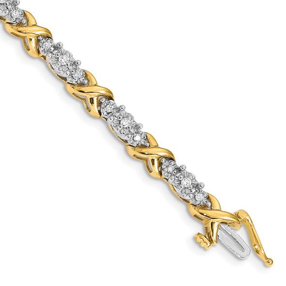 14k Two-tone Gold Diamond X Bracelet