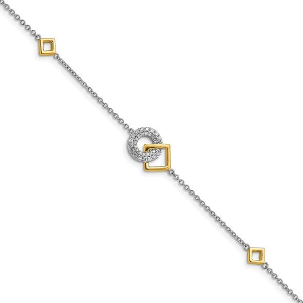 14k Two-tone Gold Polished Diamond Circle and Square Bracelet