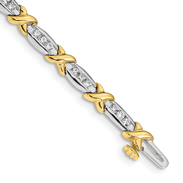 14k Two-tone Gold Polished Fancy Diamond Bracelet