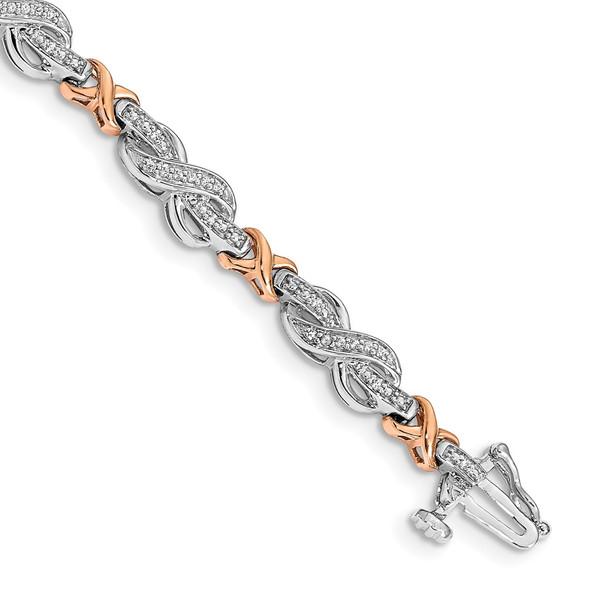 14k Two-tone Gold Diamond Infinity Symbol Link Bracelet