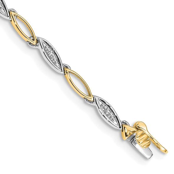 14k Two-tone Gold Diamond Link Bracelet