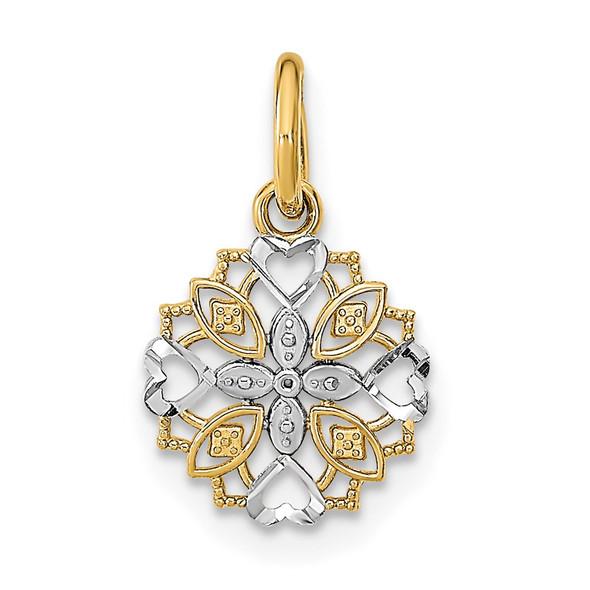 14k Yellow Gold w/Rhodium Cut-Out Heart Edge Flower Charm