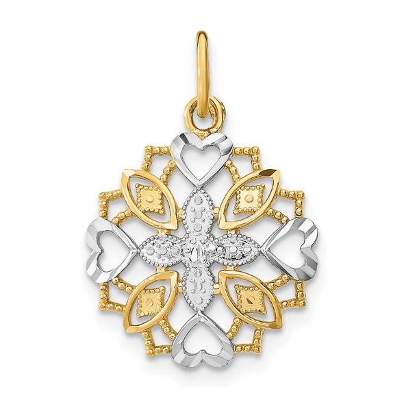 14k Yellow Gold w/Rhodium Center Flower and Heart Charm