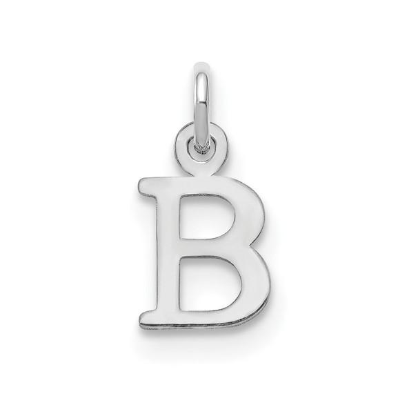 14k White Gold Cutout Letter B Initial Charm