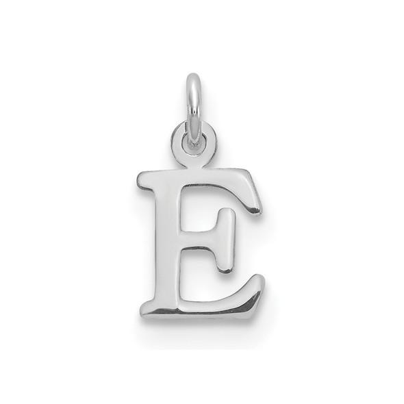 14k White Gold Cutout Letter E Initial Charm