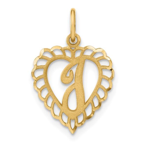 14k Yellow Gold Heart Letter I Charm