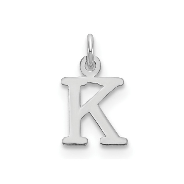 14k White Gold Cutout Letter K Initial Charm