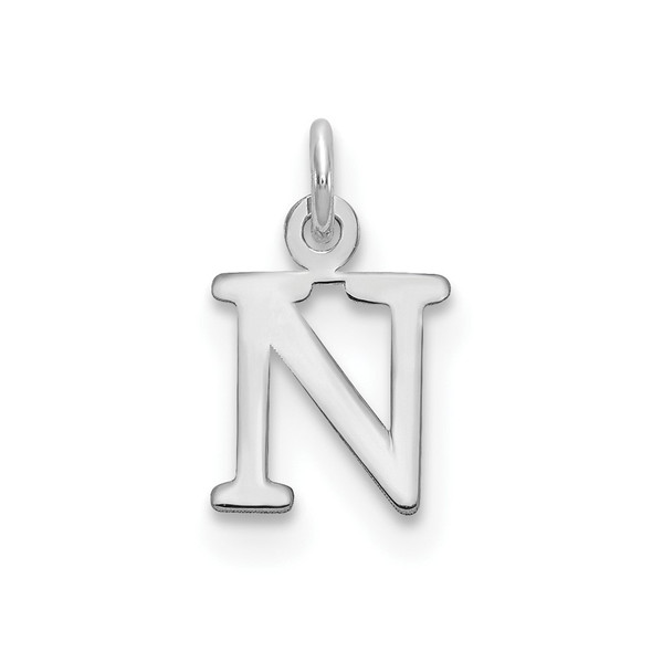 14k White Gold Cutout Letter N Initial Charm