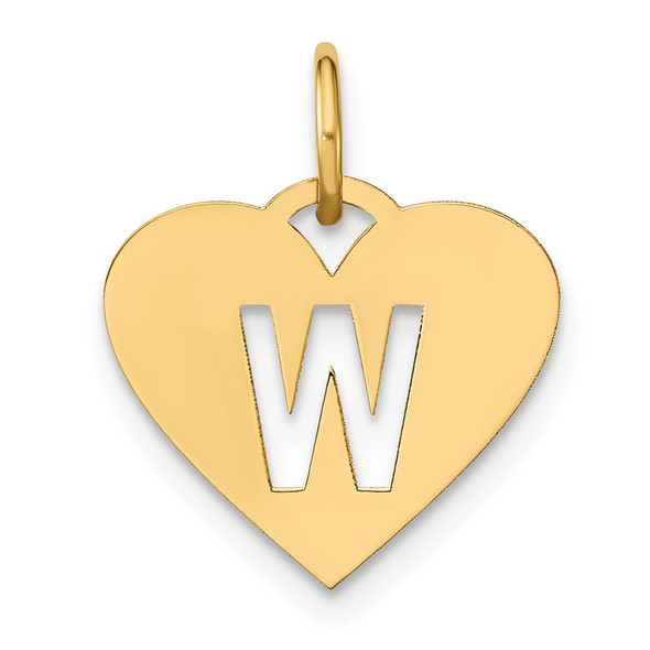 14k Yellow Gold Initial Letter W Initial Heart Charm