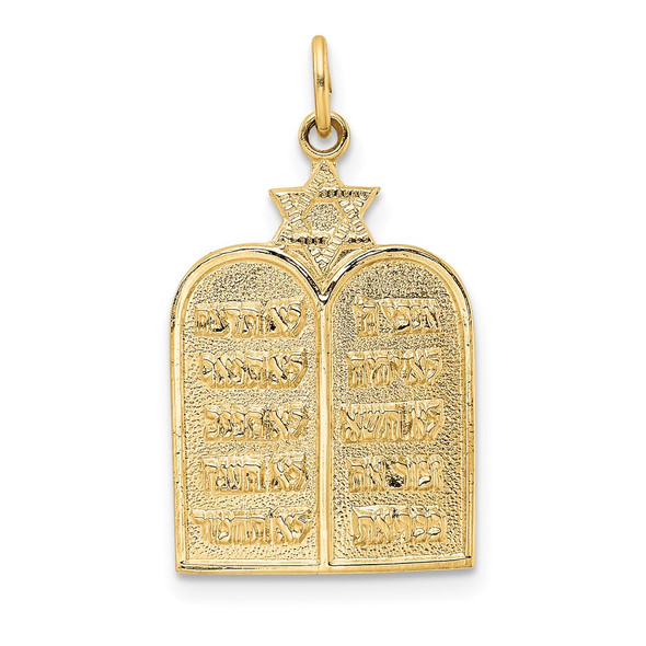14k Yellow Gold Polished Solid Ten Commandments and Star Charm
