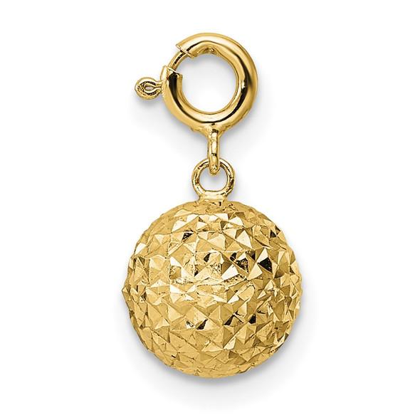 14k Yellow Gold Diamond-cut Ball w/ Spring Ring Clasp Charm