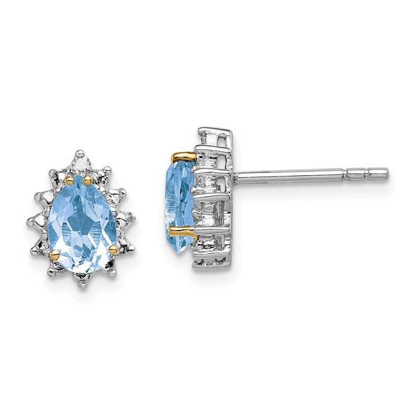 Sterling Silver & 14k Yellow Gold True Two-tone Sky Blue Topaz Diamond Earrings