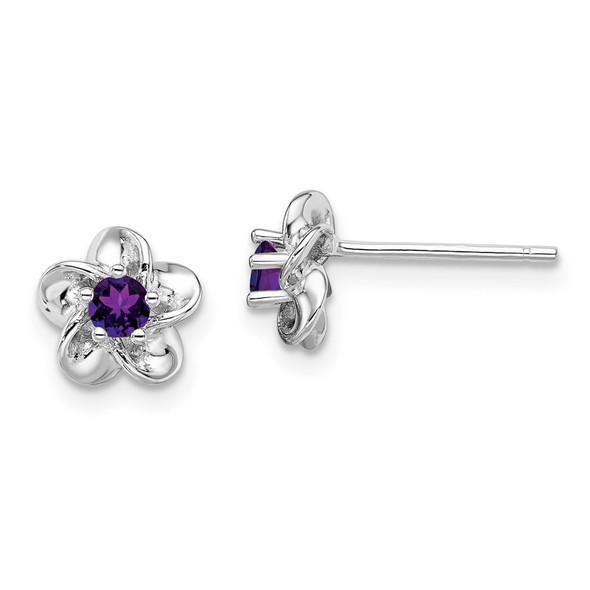 Sterling Silver Rhodium-plated Floral Amethyst Post Earrings