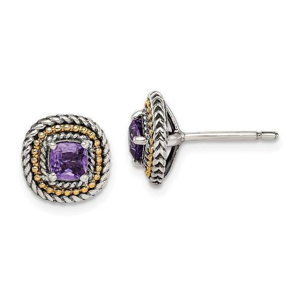 Sterling Silver w/ 14k Yellow Gold Accent Amethyst Square Post Earrings