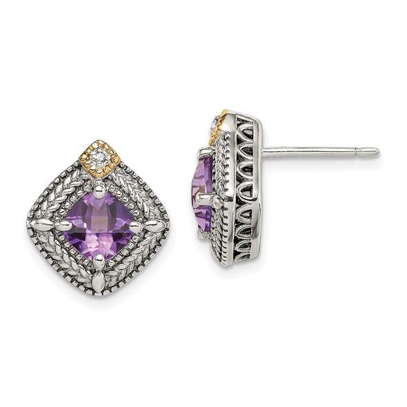 Sterling Silver w/ 14k Yellow Gold Accent Amethyst & Diamond Post Earrings