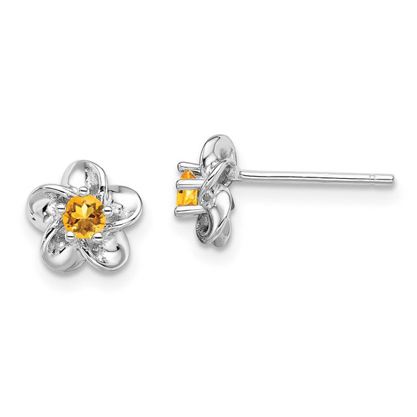 Sterling Silver Rhodium-plated Floral Citrine Post Earrings