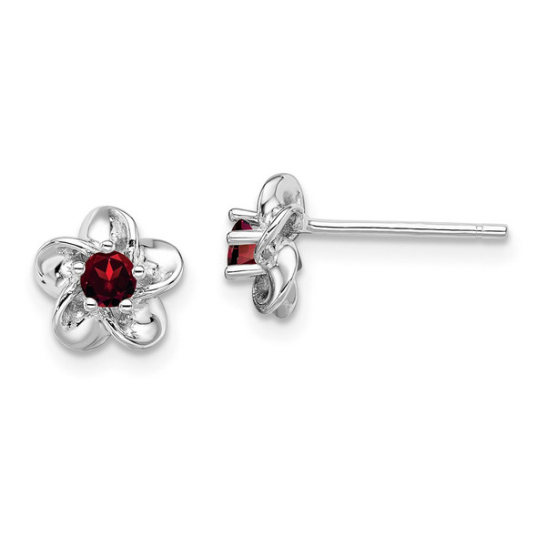 Sterling Silver Rhodium-plated Floral Garnet Post Earrings