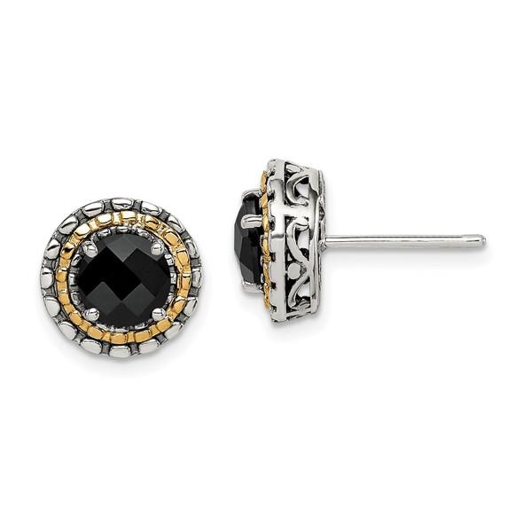 Sterling Silver w/ 14k Yellow Gold Polished Onyx Earrings QTC1539