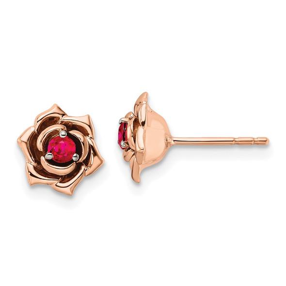 14K Two-tone Gold White & Rose Ruby Flower Post Earrings