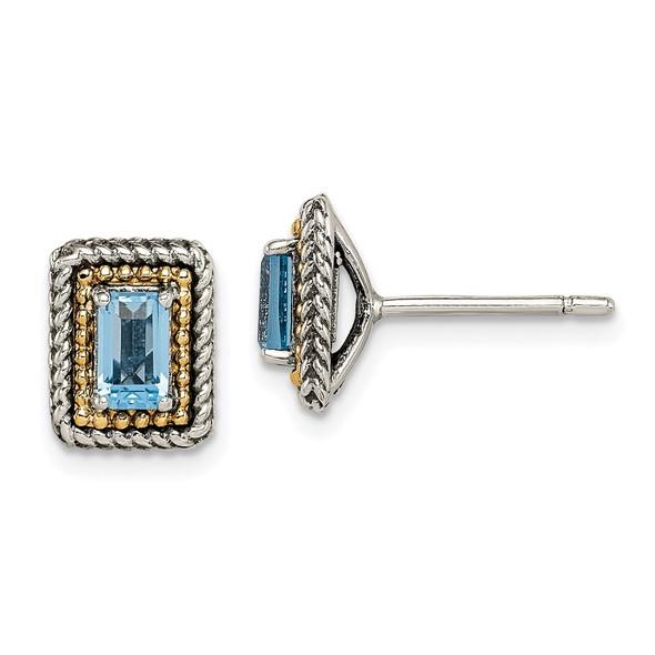 Sterling Silver w/ 14k Yellow Gold Accent Light Swiss Blue Topaz Post Earrings QTC1614