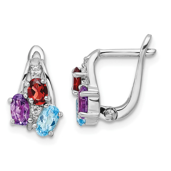 Sterling Silver Rhodium-plated 1.30t.w. Blue Topaz/Amethyst/Garnet/White Topaz Hinged Earrings