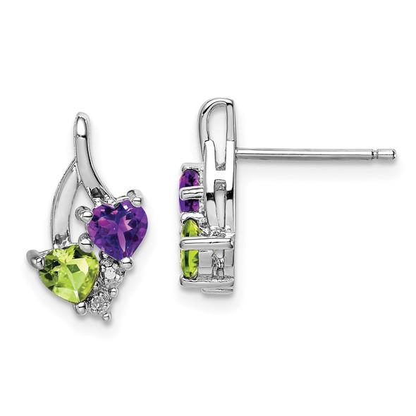 Sterling Silver Rhodium-plated Amethyst Peridot Diamond Earrings