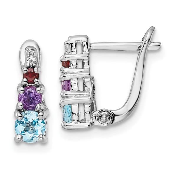Sterling Silver Rhodium-plated .84t.w. Blue Topaz/Amethyst/Garnet/White Topaz Hinged Earrings
