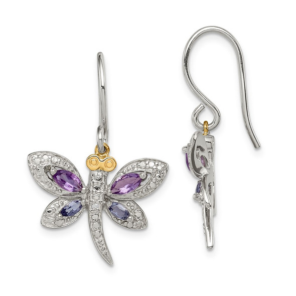 Sterling Silver & 14k Yellow Gold True Two-tone Amethyst, Iolite & Diamond Dragonfly Earrings