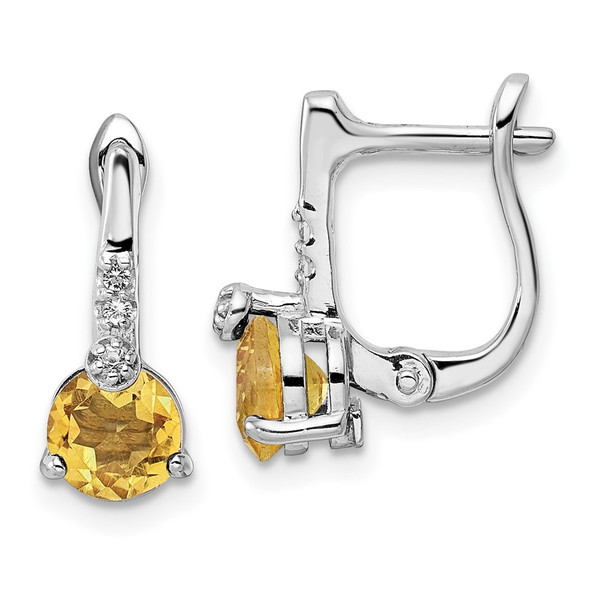 Sterling Silver Rhodium-plate 1.36ctw Citrine/White Topaz Circle Hinged Earrings