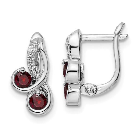Sterling Silver Rhodium-plated .68ctw Garnet/White Topaz Swirl Hinged Earrings