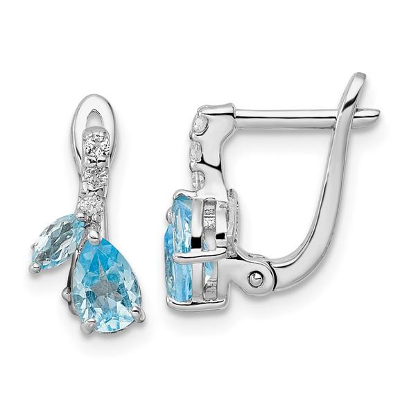 Sterling Silver Rhodium-plated Swiss Blue Topaz/White Topaz Hinged Earrings QE16641BT