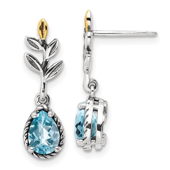 Sterling Silver w/14k Yellow Gold Leaf 1.54ctw Light Swiss Blue Topaz Post Earrings
