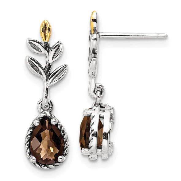 Sterling Silver w/14k Yellow Gold Leaf 1.05ctw Dangle Post Earrings