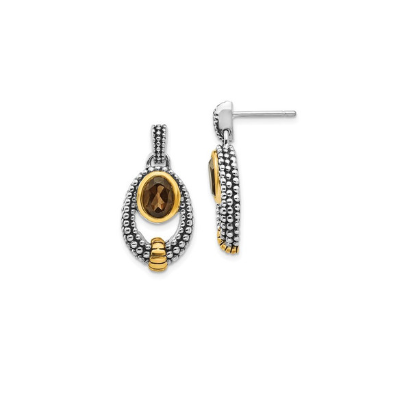 Sterling Silver w/Gold-tone Flash Gold-plated Smoky Quartz Earrings