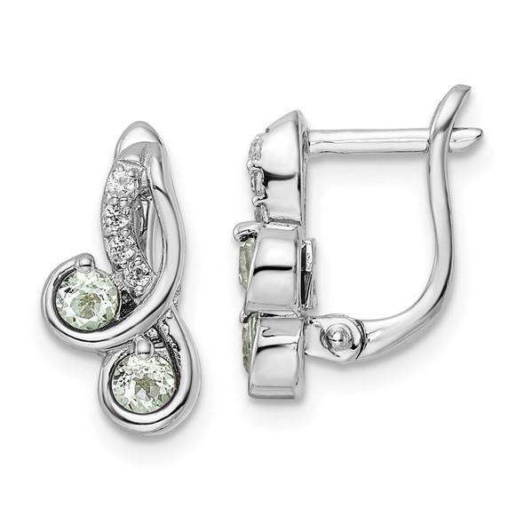 Sterling Silver Rhodium-plated .50ctw Green Quartz/White Topaz Hinge Earrings