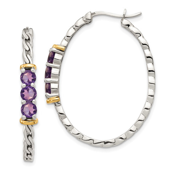 Sterling Silver w/ 14k Yellow Gold Accent Amethyst Hinged Hoop Earrings