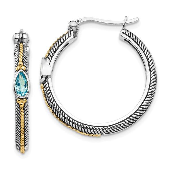Sterling Silver w/ 14k Yellow Gold Blue Swiss Topaz Hinged Hoop Earrings