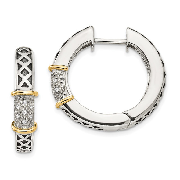 Sterling Silver w/14k Yellow Gold Diamond Hinged Hoop Earrings