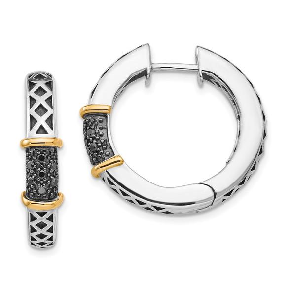 Sterling Silver w/14k Yellow Gold Antiqued Black Diamond Hinged Hoop Earrings