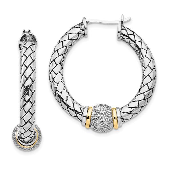 Sterling Silver w/14k Yellow Gold Diamond Hoop Earrings QTC122