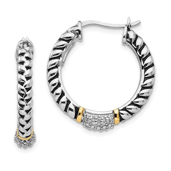 Sterling Silver w/14k Yellow Gold Diamond Hoop Earrings QTC550