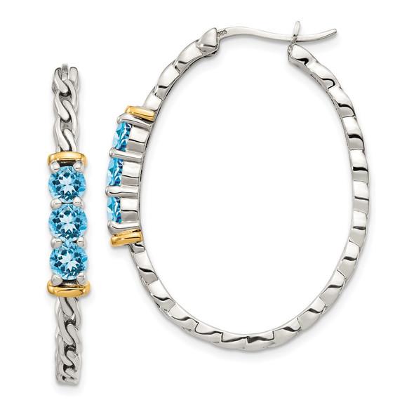Sterling Silver w/ 14k Yellow Gold Accent Light Swiss Blue Topaz Hoop Earrings