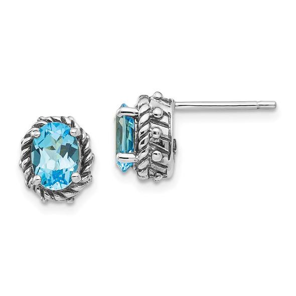 Sterling Silver Blue Topaz Antiqued Earrings