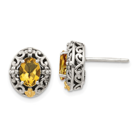 Sterling Silver w/ 14k Yellow Gold Accent Citrine Post Earrings QTC1646