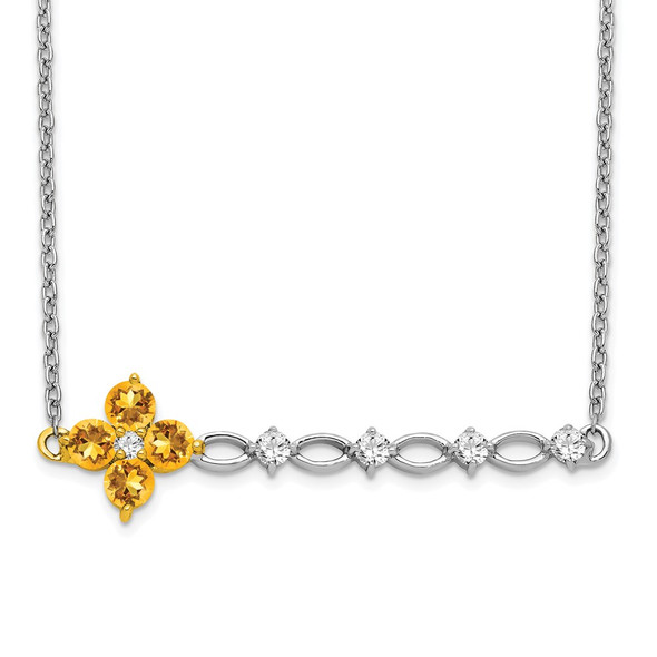 14k Two-tone Gold Citrine and Diamond Floral Bar Necklace